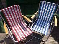 PAIR VINTAGE CAMPING FOLDING CANDY STRIPED DECK CHAIRS PICNIC SEASIDE CAMPER