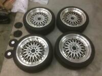 Dare RS 18x8 5x120 5x114 BBS split rim replica alloy wheels 225/40/18 tyres BMW Nissan Honda Lexus