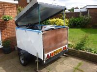 Track Bike Box Trailer With Built In Ramp & Lift Up Lid