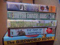 Garden birds & other VHS videos x 5