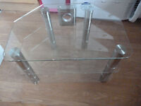Glass TV stand, with shelf, excellent condition
