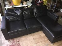 Black leather corner sofa (will deliver free if local)