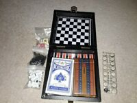Travel games, checkers, chess, mikado, backgammon, dominoes, wooden box games