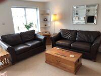 M&S 'Abbey Range' Large and Medium Dark Brown Leather Sofas