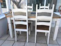 Restored wooden table and chairs
