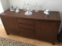 Beautiful Dark Wood Dining Room Table and Chairs with Matching Cabinet