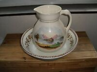 ANTIQUE / VINTAGE WASH BOWL / PITCHER & JUG WITH LAKE SCENE, HANDPAINTED.