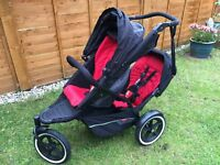 Phil and Teds Explorer Double Buggy (black /red)