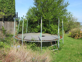 LARGE 15' Atlantic TRAMPOLINE - needs new £67 jumping mat, but structuarlly solid.