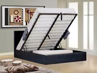 GAS LIFT UP SYSTEM BED! FAUX LEATHER BED FRAME WITH MATTRESS SINGLE/DOUBLE