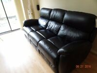 LIKE NEW DFS Narvona Black Leather 3 Seater with 2 built in Power Recliners