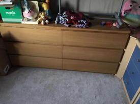 Ikea malm oak veneer drawers