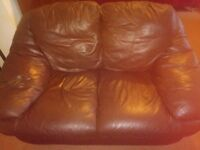 Brown Leather 2 seater Sofa £40