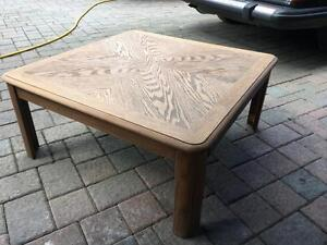 Retro 70s Solid Oak Square Table