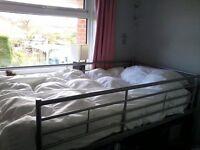 Single Silver Metal MIDI Bunk Bed with mattress