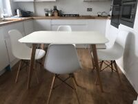 Year old, immaculate condition modern dining table & 4 chairs
