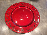 Decorative charger or cake plate red
