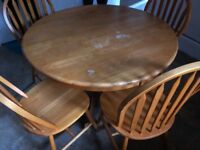 SOLID WOODEN DINING TABLE & 4 CHAIRS USED