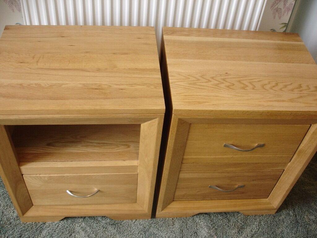 Bevel Solid Oak Bedside Table Cabinet Oak Furniture Land In
