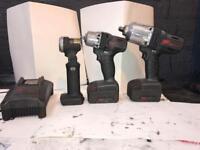 Ingersoll rand 1/4 gun, 3/8 gun, torch , two batteries and charger
