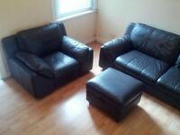 Dark Brown Leather Suite: Sofa, Chair & Footstool