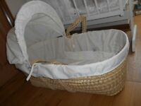 Mosses basket 'Clair de Lune' with mattress, hood and cover, cream with 'My Toys' motif. Used once.