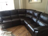 Brown leather corner reclining couch