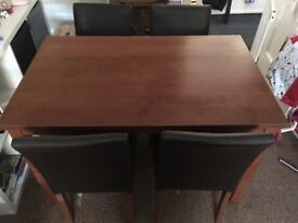 Dark Wood Dining Table and 4 Chairs