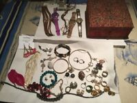 LARGE SELECTION OF COSTUME JEWELLERY and 3 watches. ALL shown in photo thanks.