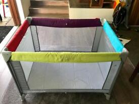 SOLD*Travel Cot (Mothercare) with mattress and bed linen