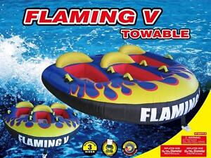H2O Sporting Flaming V Water Ski Tube Towable Safe 3 person sit in -Also have other tubes, Water Trampolines, Snorkels
