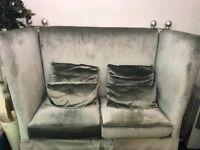 A pair of 2 seater velvet sofas