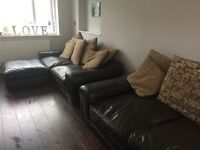 3 Seater & 2 Seater Brown Leather Suite from DFS incl. Footstool