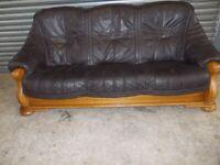 Brown Leather 3-2-1 Oak Frame Suite (Sofa)