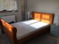 Solid wood double sleigh bed