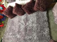 Next mauve shimmer rug & Matalan mongolian faux fur cushions