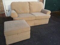 M&S Beige Fabric Sofa & Storage Footstool