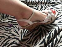 Ladies, pretty cork heel, 5