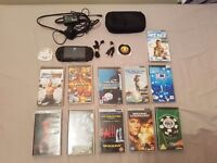 Playstation Portable psp with games accesories case good condition