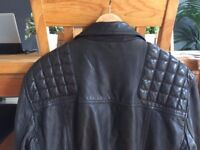 AllSaints mens black Conroy leather jacket XL