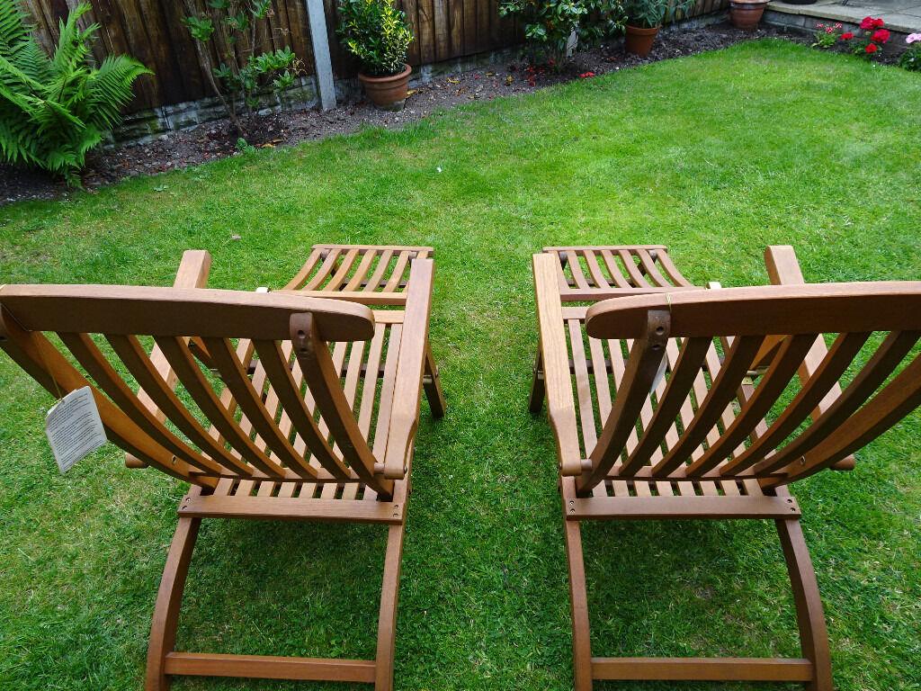 Pair Of Homebase Sun Lounger Steamer Garden Deck Chairs Teak