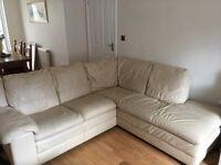 Cream Leather Corner Sofa - quick sale wanted!