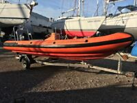 Flatacraft Force 5 Quality 6m RIB with Mercury 70hp outboard motor and trailer.
