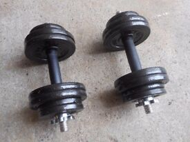 2 x 13.5kg Cast Iron Dumbbell Weights