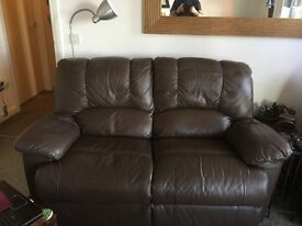 Chocolate brown leather 2 seater recliner and matching chair also recliner