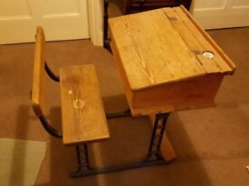 Vintage wooden child's desk - cast iron frame - flip top - ink well