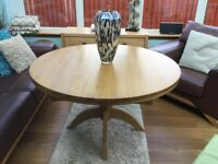 Circular Solid Oak Extendable Dining Room Table