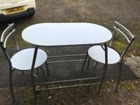 White 2 seater table and chairs
