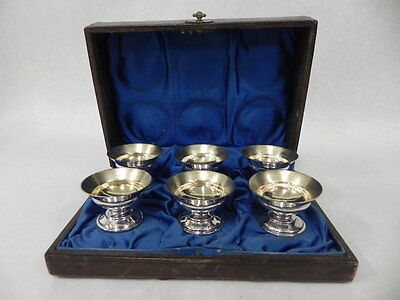 LOT OF 6 WOOD & HUGHES ANTIQUE STERLING SILVER MASTER SALTS w/BOX RARE US MADE