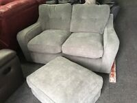 New/Ex Display Sydney Grey 2 Seater Sofa + Ottoman Footstool